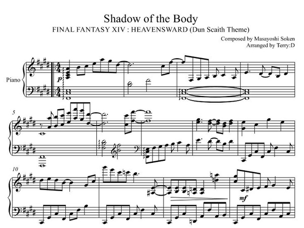 FInal Fantasy XIV : Dun Scaith theme ( Shadow of the body ) for piano solo
