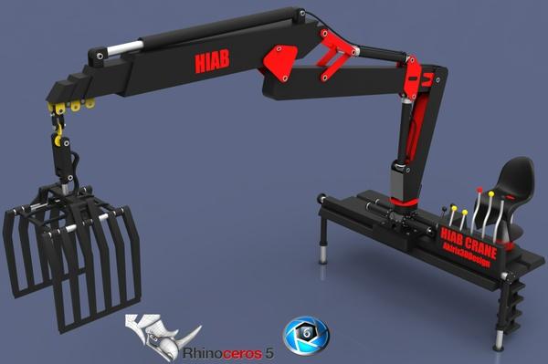 3D Hiab Crane Model