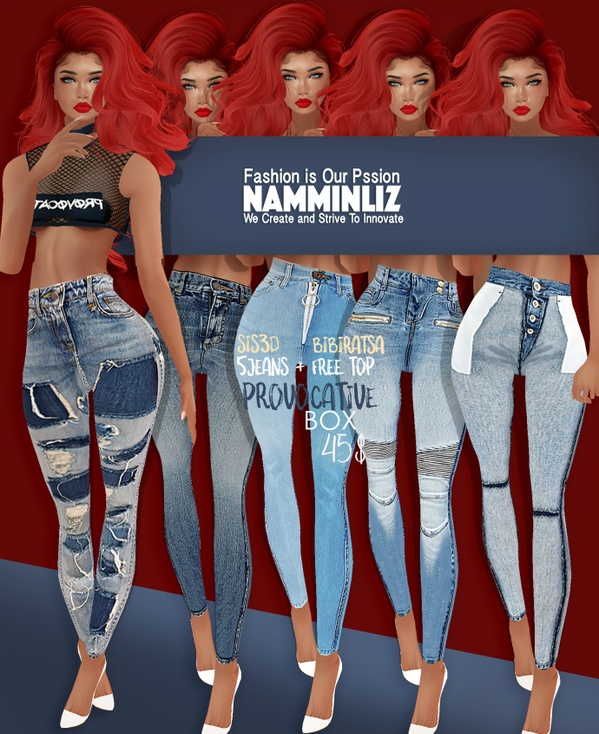 BOX Provocative 5 Jeans Sis3d + Free Top Bibirasta With normal resell right Limited to 4 Customers