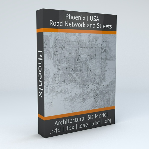 Phoenix Road Network Architectural 3D Model