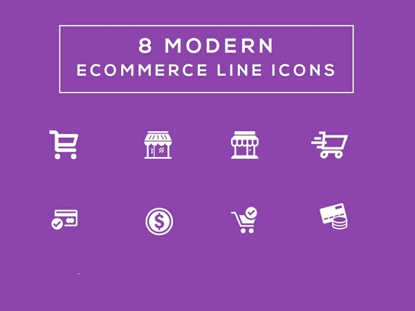 8 Modern Ecommerce Line Icons Free