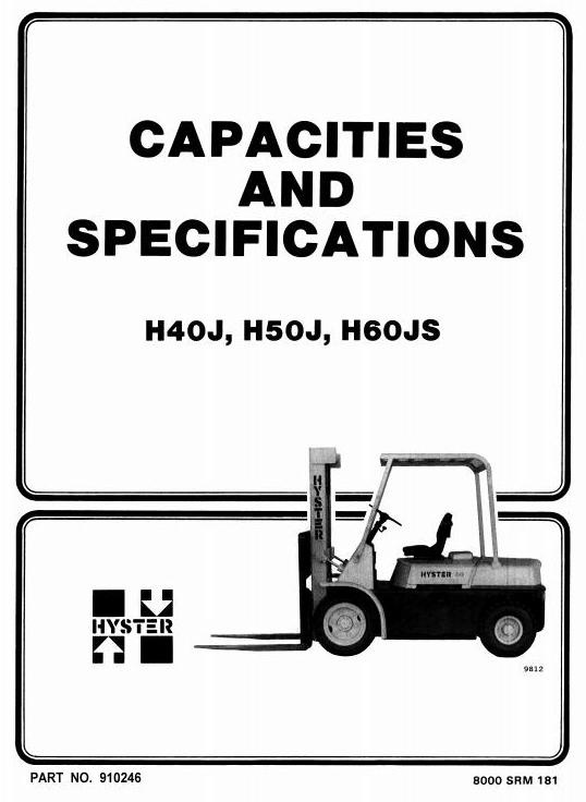 Hyster Forklift Truck Type F003: H40J, H50J, H60JS Workshop Manual
