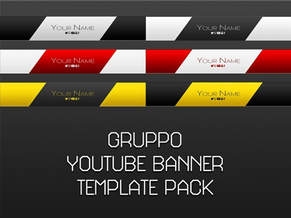 Gruppo YouTube Banner Photoshop Template Pack