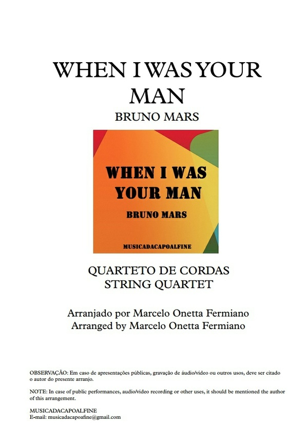 When I was Your Man / Bruno Mars - String Quartet/ Sheet Music/ Download - Score and parts.pdf