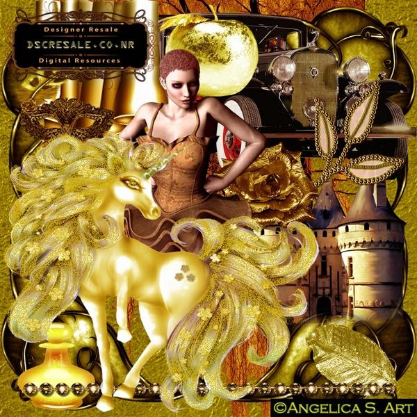 Golden Brown Vintage Scrapbook transparent commercial use resale clip art graphics