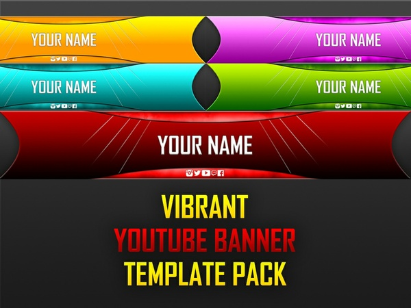 Vibrant YouTube Banner Template Pack