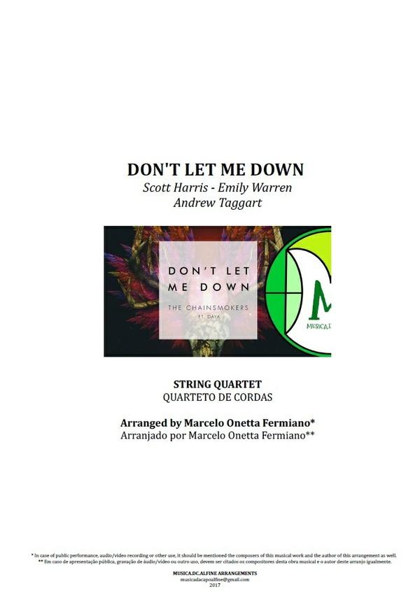 Don't Let Me Down | The Chainsmokers | Quarteto de Cordas | Grade e Partes | Partitura Completa