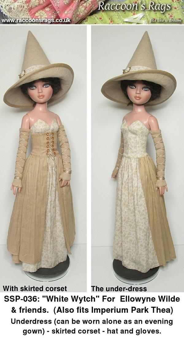 SSP-036: White Wytch: dress, corset, hat, gloves, for Ellowyne Wilde & friends.