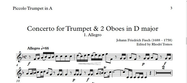 Fasch Trumpet Concerto. Trumpet sheet music play along.