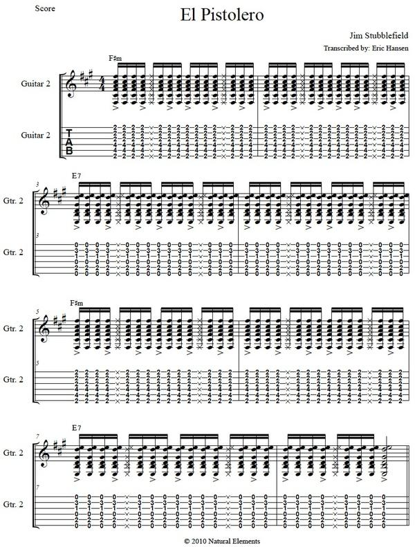 El Pistolero - Jim Stubblefield - Guitar Tab/Notation