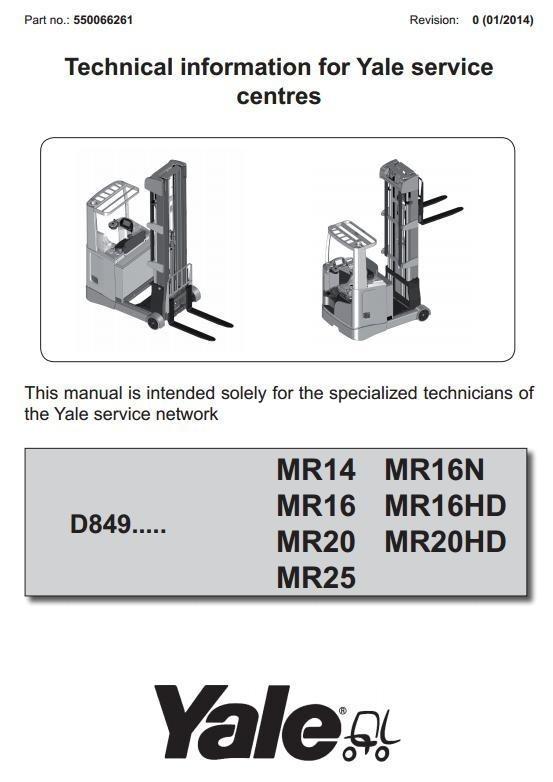 Yale Reach Truck D849 Series: MR14, MR16(N, HD), MR20(HD), MR25 Workshop Service Manual