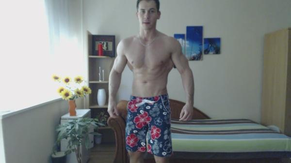 Masculine - Hard Flexing in beachshort