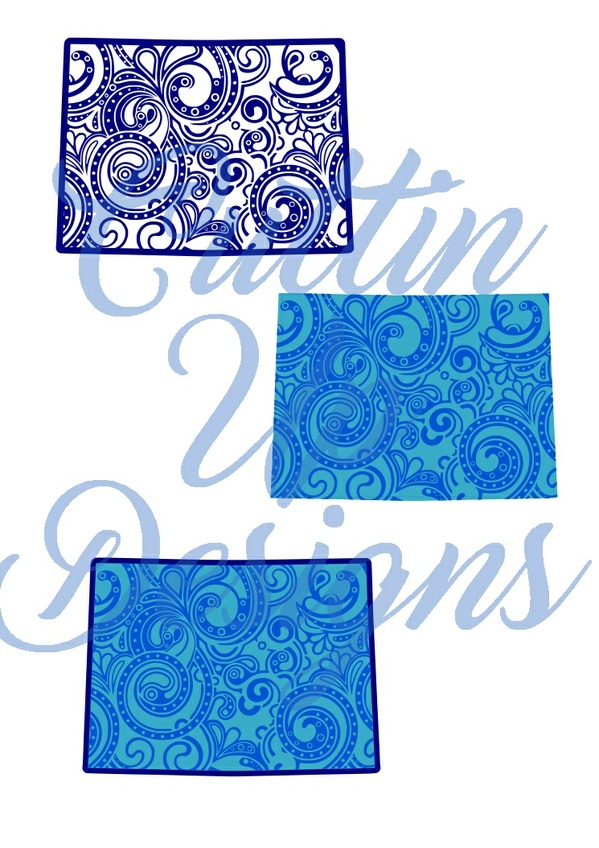 Colorado Paisley Patterned States One color and Layered SVG for Cricut or Cameo