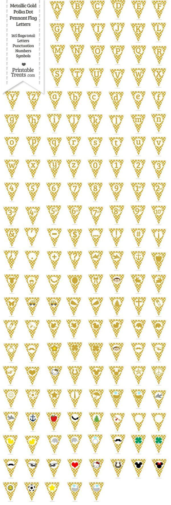165 Metallic Gold Polka Dot Pennant Flag Letters Password