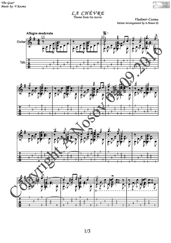 La Chèvre (V.Cosma) Sheet music for guitar