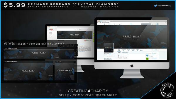 """""""Crystal Diamond"""" pre-made social media re-brand"""
