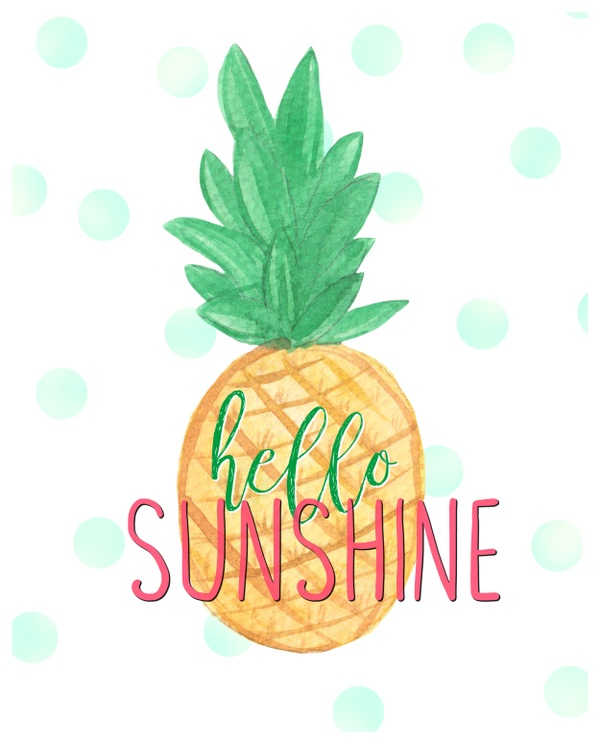 8x10 Hello Sunshine- Pineapple digital download