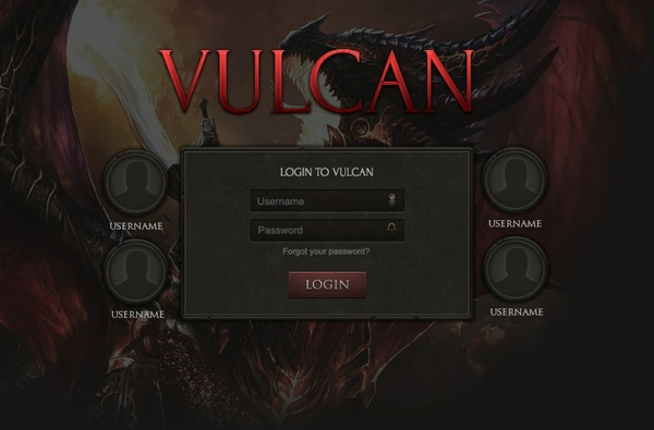 Vulcan Login Screen [PSD]