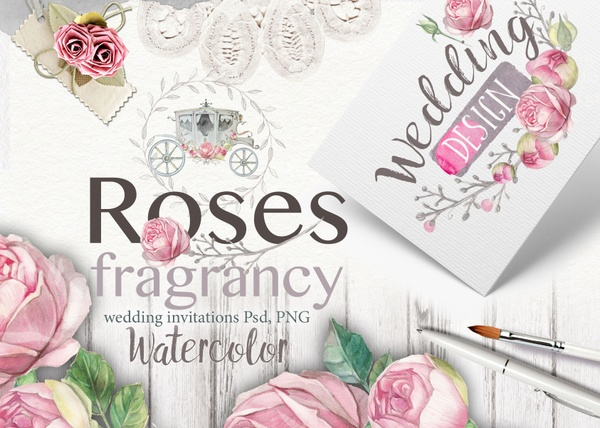 """ Roses fragrancy"" wedding set 25 PNG,22 psd"