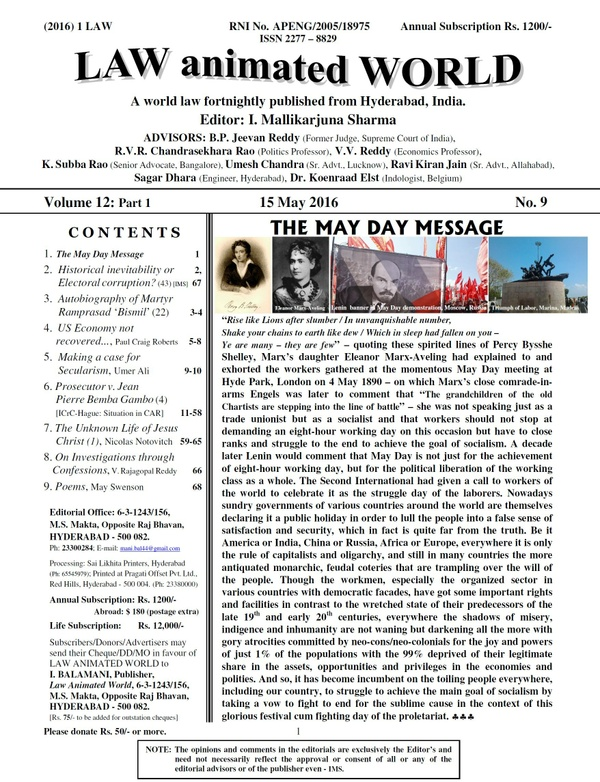 LAW ANIMATED WORLD, 15 May 2016, Vol. 12: Part 1, No. 9 issue
