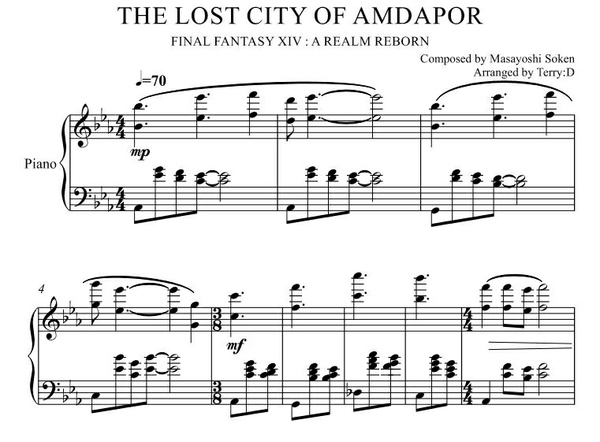 """The Lost City of Amdapor(Arr.by Terry:D)"" for Piano solo from Final Fantasy XIV : A Realm Reborn"