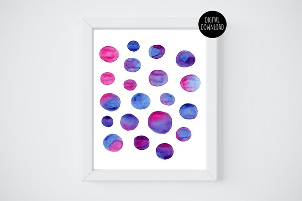 pink and purple watercolor circles painting // 8x10 // printable digital download