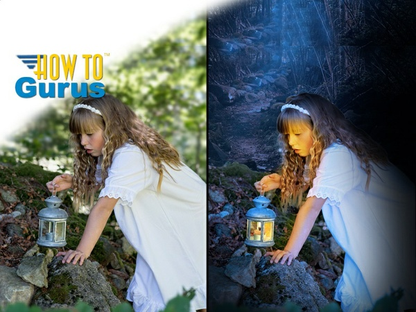 How to do a Day to Night with Glowing Lamp Photo Manipulation in Photoshop Elements 14 13 12 11