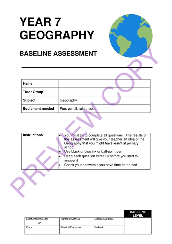 Geography KS3 Baseline Assessment and Mark Scheme for Year 7