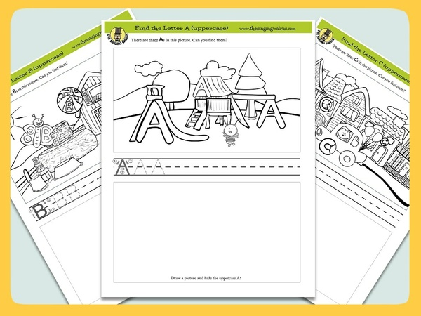 """Find the Letter"" - Alphabet Worksheets/Coloring Pages for Kids"