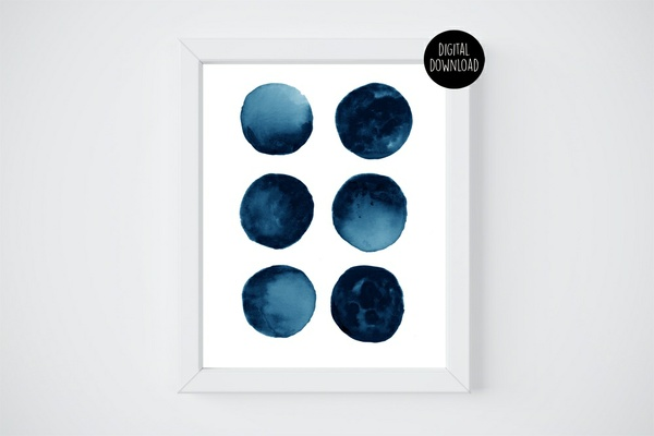 blue moon watercolor painting // 8x10 // printable digital download