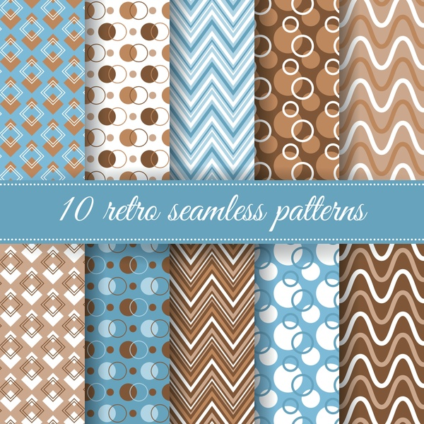 Set of retro seamless patterns for greeting card Vol.2