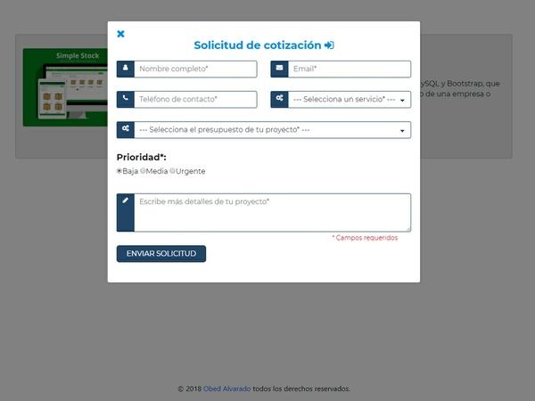 Formulario para solicitud de cotizaciones desarrollado con Bootstrap y PHP