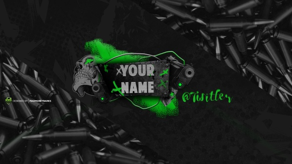 Skull Grundge YouTube Channel Banner Template