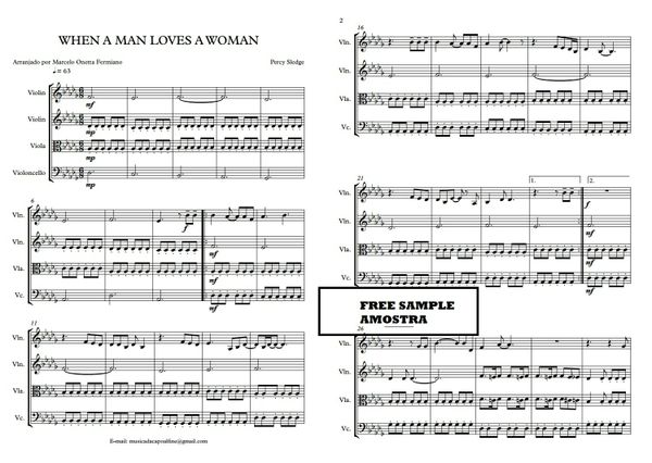 When a Man Loves a Woman - String Quartet - Score and parts.pdf Sheet music