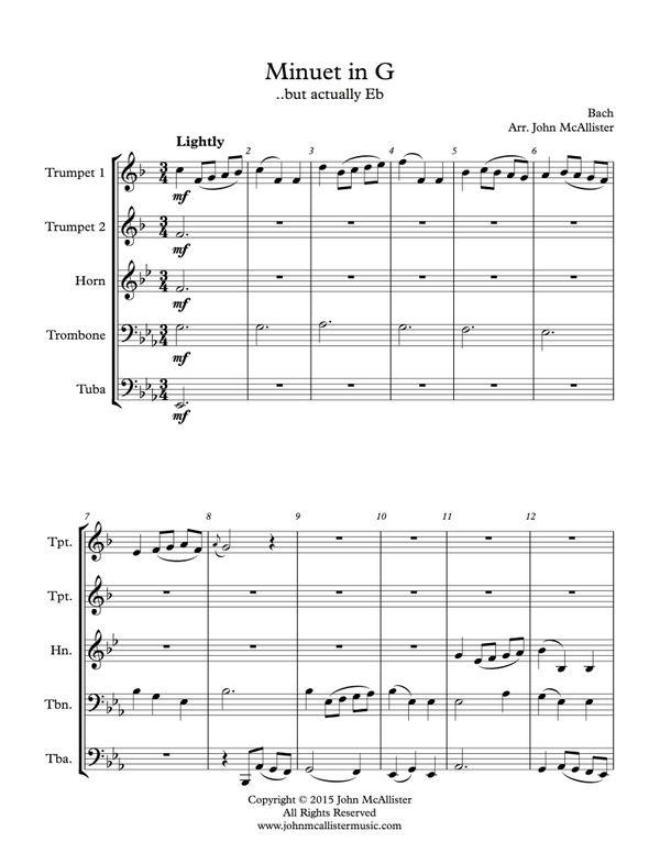 Minuet in G for Brass Quintet (arranged in Eb) - Grade 2