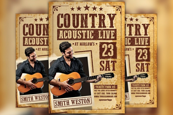 Country Acoustic Night Flyer Template