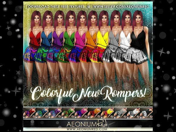 IMVU Freebie: 10 Colorful Summer Rompers!