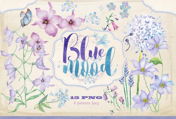 """Floral set PNG,JPEG """"Blue mood"""""""
