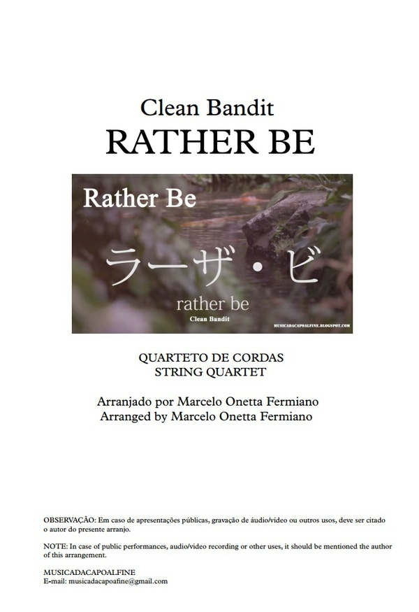 Rather Be -C. Bandit - String Quartet - Sheet Music Download- Score and parts.pdf