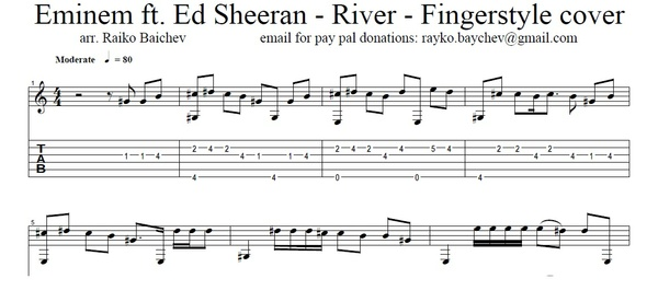 Eminem ft. Ed Sheeran - River - Fingerstyle Tab