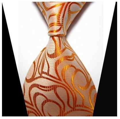 B Royal Designs Men's Orange/Gold Silk Tie Only (Shipping included)