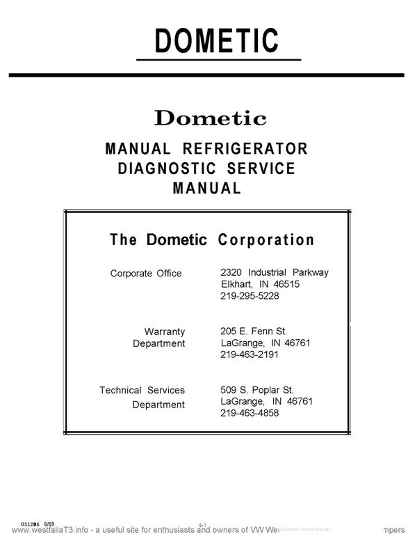 Dometic RM461 Service Manual