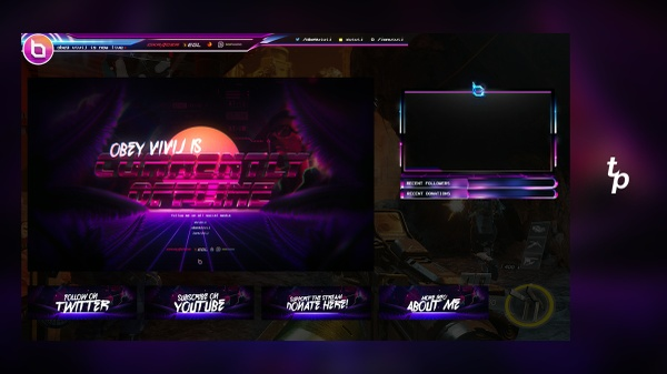 Full Twitch Package (Includes Header, Avi, Buttons, Overlay, Screens, etc)