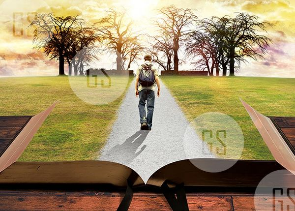 Man Walking on Path Leading Through Bible-4B