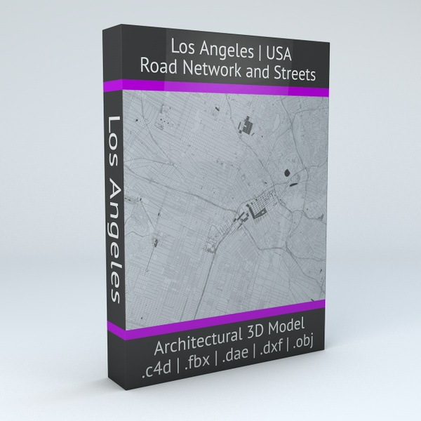 Los Angeles Road Network and Streets Architectural 3D Model
