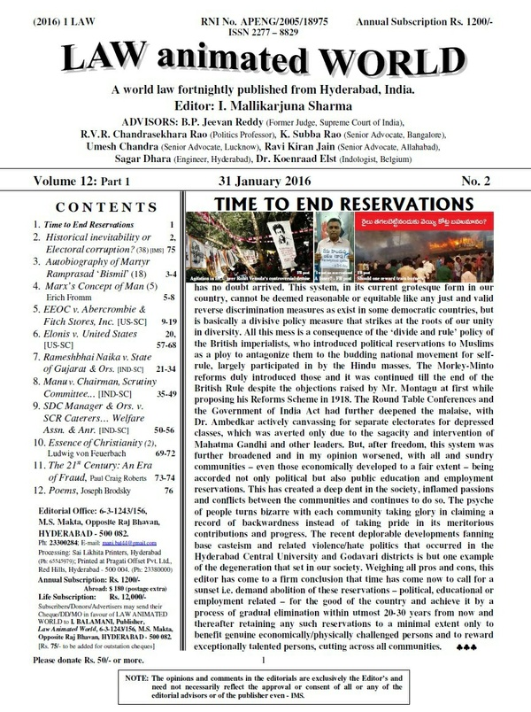 LAW ANIMATED WORLD, 31-01-2016 issue