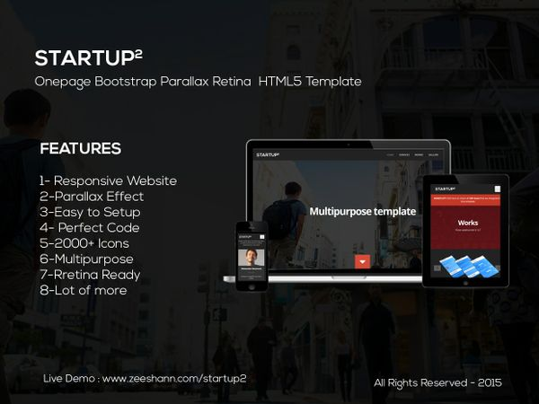 StartUp2 - Onepage Bootstrap Parallax Retina HTML5 Template