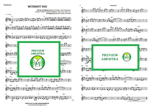 Without You - David Guetta - Keyboard or Violin Sheet Music