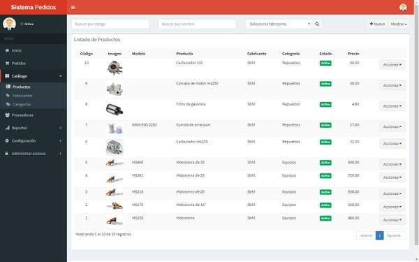 Sistema web de pedidos
