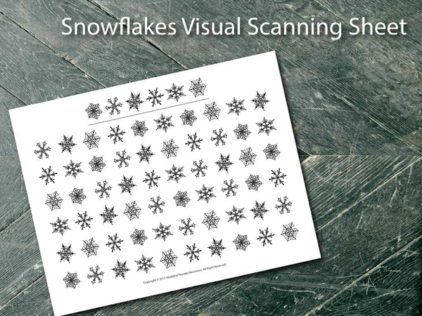 Visual Scanning Worksheet - Snowflakes